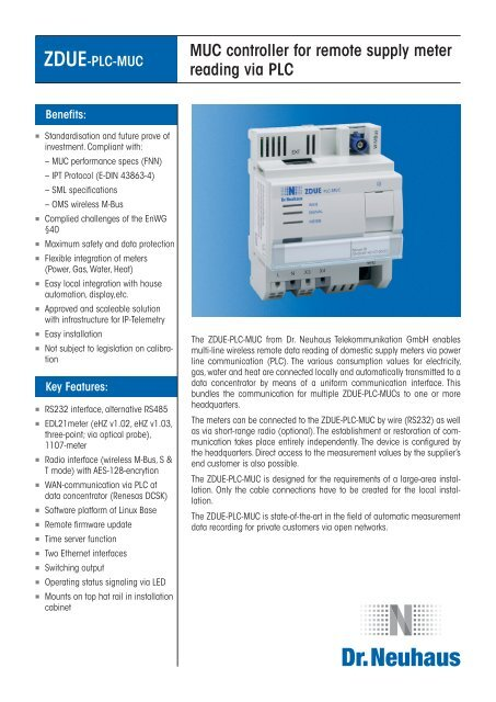 MUC controller for remote supply meter reading via PLC