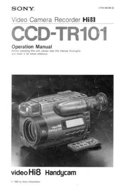 Sony CCD-TR101 User Manual [2.1mb PDF file] - Under Design