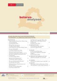 Belarus-Analysen 01 - Laender-Analysen