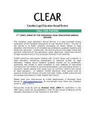 CLEAR Canadian Legal Education Annual Review - The Society of ...