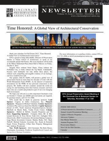 Fourth Quarter 2012 - Cincinnati Preservation Association