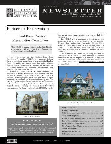 First Quarter 2013 - Cincinnati Preservation Association