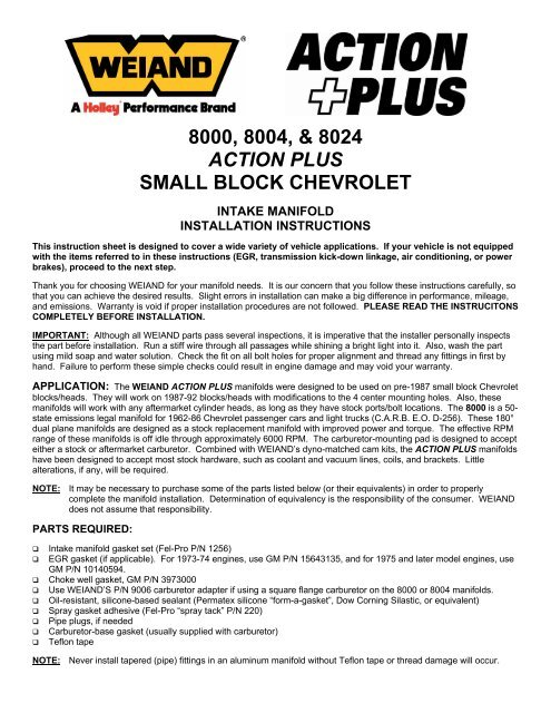 8000, 8004, & 8024 action plus small block chevrolet