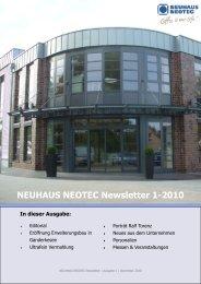 NEUHAUS NEOTEC Newsletter 1-2010 In dieser Ausgabe