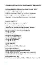 Jubiläumsansprache des Präsidenten zur Feier 40 Jahre RC Erbach ...