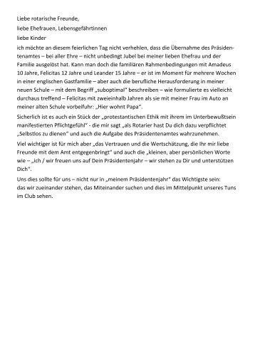 Rede des neuen Präsidenten Wilfried Schulz zur Charterübernahme.
