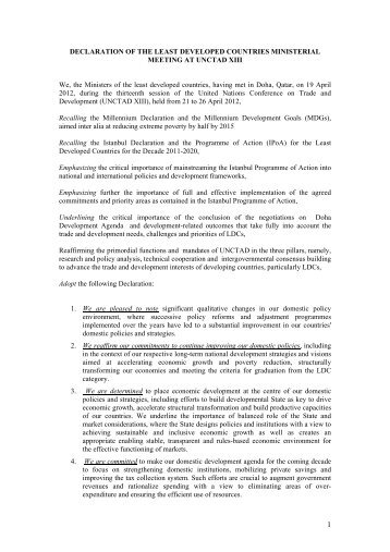 draft declaration of the least developed countries - unctad xiii