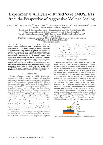 Experimental Analysis of Buried SiGe pMOSFETs from ... - Felice Crupi