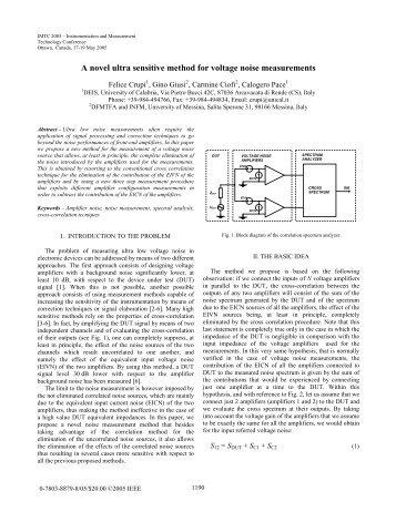 A novel ultra sensitive method for voltage noise ... - Felice Crupi