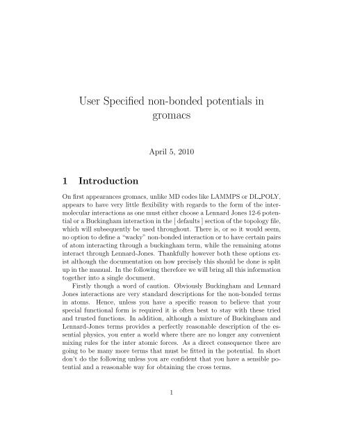 User Specified non-bonded potentials in gromacs