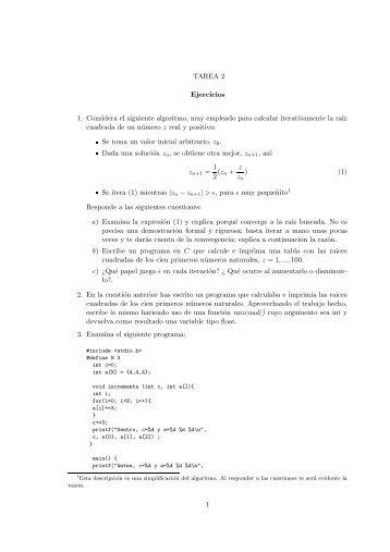 TAREA 2 Ejercicios 1. Considera el siguiente algoritmo, muy ...