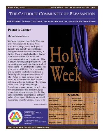 THE CATHOLIC COMMUNITY PLEASANTON - March 29, 2015