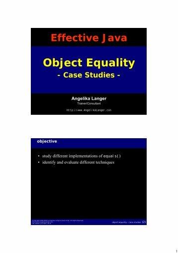 Object Equality - Angelika Langer