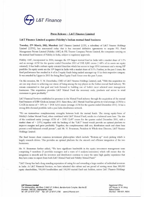 L&T Finance acquires Fidelity's Indian mutual fund business