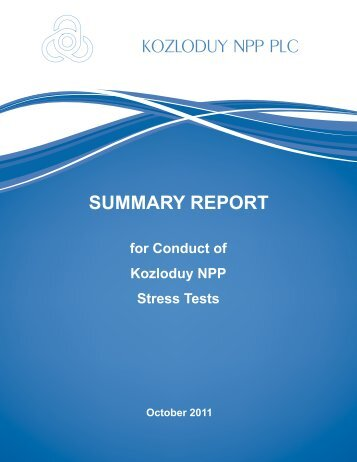 Summary Report for Conduct of Kozloduy NPP Stress Tests