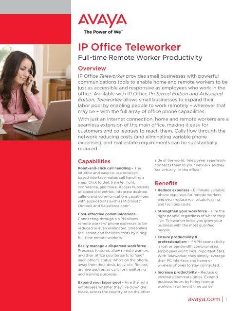 Avaya IP Office Teleworker PDF - Lister Communications