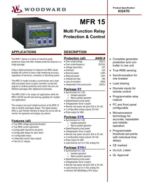 MFR 15 Multi Function Relay Protection & Control - DSF Technologies