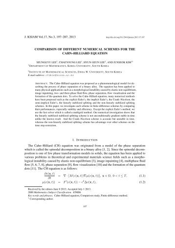 Comparison of different numerical schemes for the Cahn-Hilliard ...