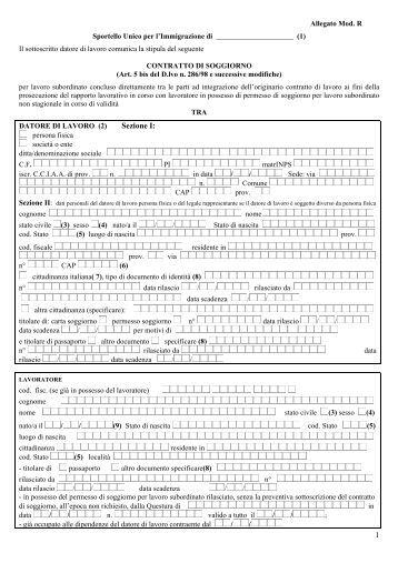Sportello unico per l 39 immigrazione di ministero dell 39 interno for Ministero interno r