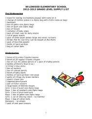 Wildwood Elementary School ~ Supply List ~ 2011-2012