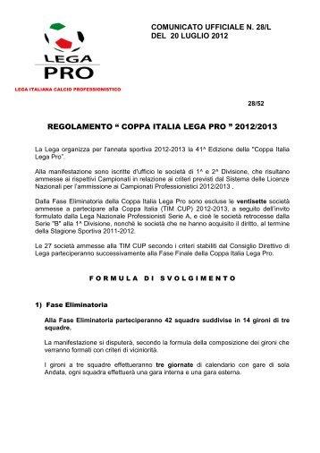Regolamento Coppa Italia Lega Pro - Diritto Calcistico