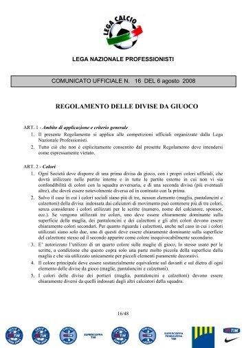 REGOLAMENTO DELLE DIVISE DA GIUOCO - Diritto Calcistico