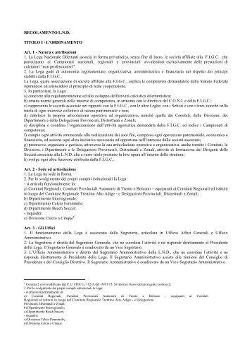REGOLAMENTO L.N.D. TITOLO I - L ... - Diritto Calcistico