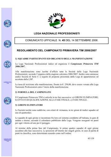 lega nazionale professionisti regolamento del ... - Diritto Calcistico