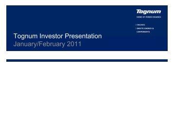 Tognum Investor Presentation January/February 2011