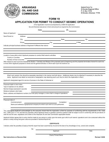 Form 19 Application For Permit To Conduct Seismic Operations .  Indemnity Forms