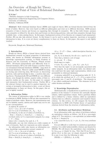 thesis on rough set theory Much work has been reported based on the perceptual approach presented by near set theory [20–25], an outgrowth of the rough set approach to obtaining approximate knowl- edge of objects that are known imprecisely [26–30] the perceptual approach to near- ness presented in this thesis is an outgrowth of research into.
