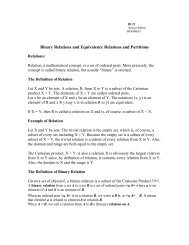 Binary Relations and Equivalence Relations and Partitions