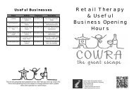 Retail Therapy Opening Hours - Cowra Tourism