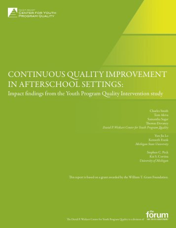 continuous quality improvement in afterschool settings - Center for ...