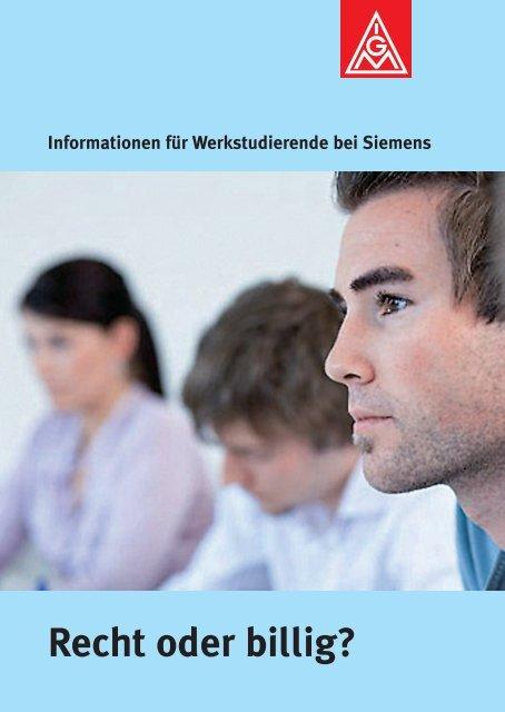 Recht oder billig? Informationen für Werkstudierende bei Siemens