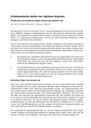 Problematische Seiten der digitalen Signatur - Vischer
