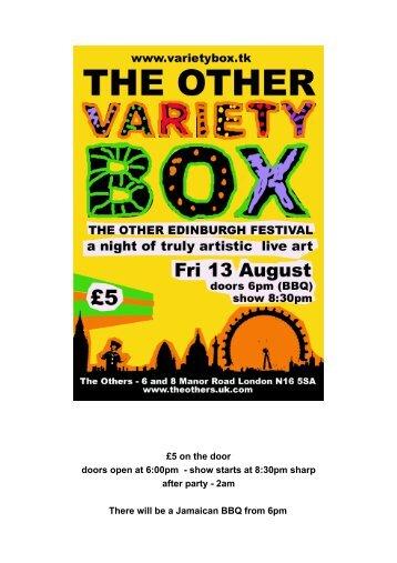 £5 on the door doors open at 6:00pm - show starts ... - Jay Rechsteiner