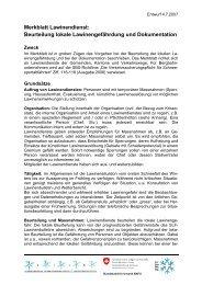 Beurteilung lokale Lawinengefährdung und Dokumentation