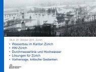 Vortrag über die Gefahrenbeurteilung im Hochwasserraum Zürich