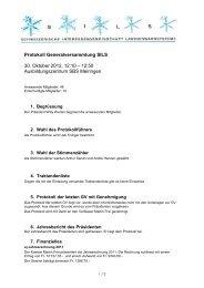 Protokoll zur GV 2012 vom 30.10.2012
