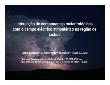 1. Interacção da meteorologia local com o campo eléctrico ...