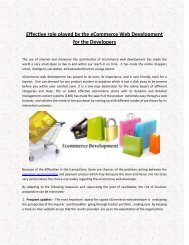 Effective role played by the eCommerce Web Development for the Developers