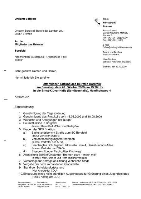 Tagesordnung (pdf, 33.8 KB) - Ortsamt Borgfeld