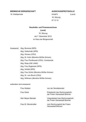 18. Sitzung am 7. Dezember 2012 (pdf, 166.7 KB) - HaFa