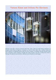 Various Kinds and Utilizes For Elevators