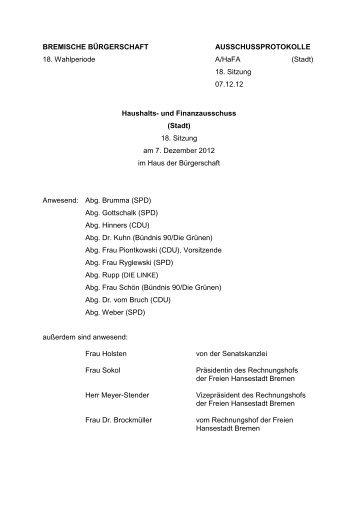 Protokoll der 18. Sitzung am 7. Dezember 2012 (pdf, 61.6 KB) - HaFa