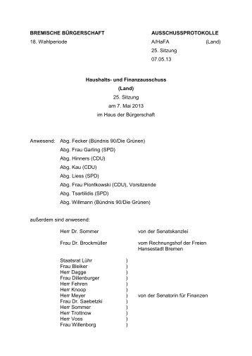 Protokoll der 25. Sitzung am 7. Mai 2013 (pdf, 53.6 KB) - Bremische ...