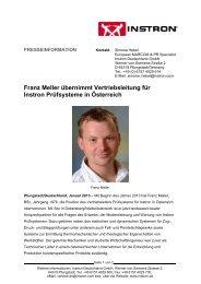 Franz Meller übernimmt Vertriebsleitung für Instron ... - Chemie.at