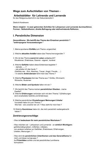 Arbeitsblätter für Lehrende und Lernende I. Persönliche Dimension