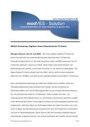 MPEG2-Streaming: Digitaler Home-Entertainment-TV-Kanal - modVES